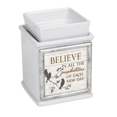 Believe In Possibilities Ceramic Slate Grey Interchangeable Photo Frame Candle Wax Oil Warmer