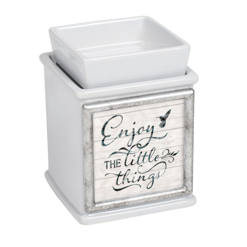 Enjoy The Little Things Ceramic Slate Grey Interchangeable Photo Frame Candle Wax Oil Warmer
