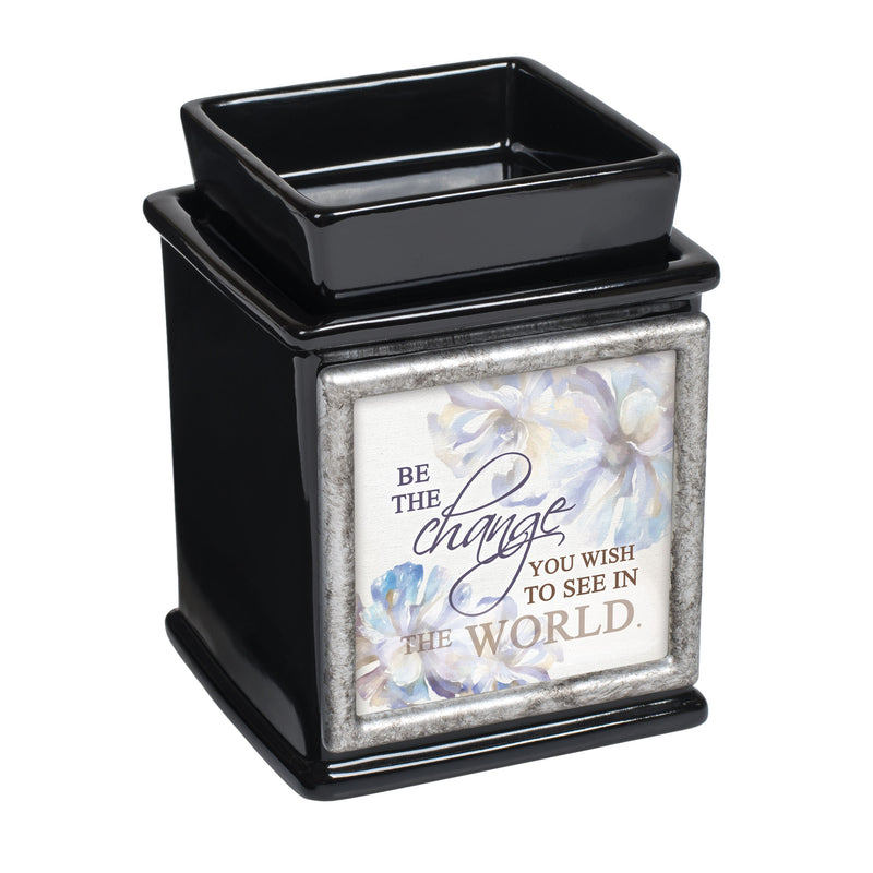 Be The Change You Wish Ceramic Glossy Black Interchangeable Photo Frame Candle Wax Oil Warmer