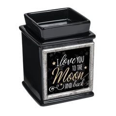 Love You To The Moon Ceramic Glossy Black Interchangeable Photo Frame Candle Wax Oil Warmer