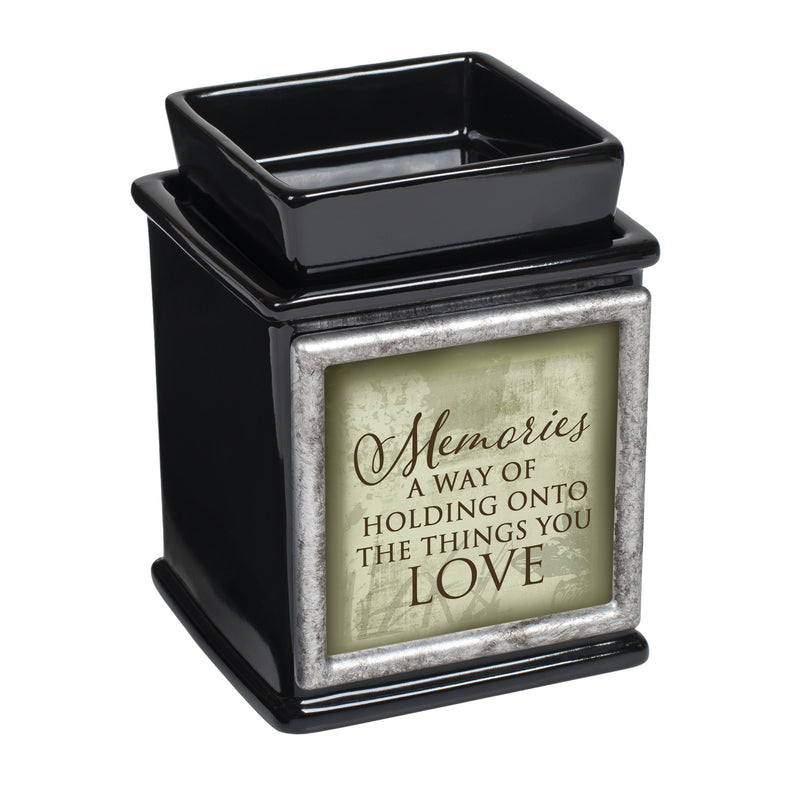 Memories Holding Love Ceramic Glossy Black Interchangeable Photo Frame Candle Wax Oil Warmer