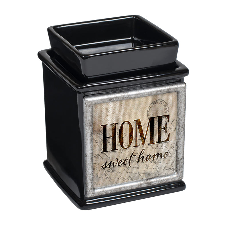 Home Sweet Home Ceramic Glossy Black Interchangeable Photo Frame Candle Wax Oil Warmer