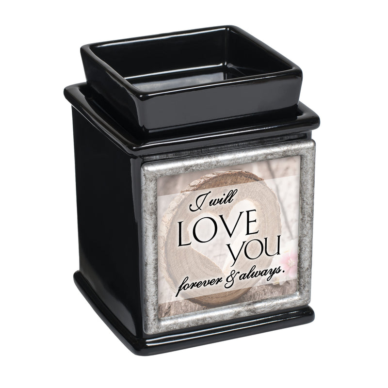 I Will Love You Forever Always Glossy Black Interchangeable Photo Frame Candle Wax Oil Warmer