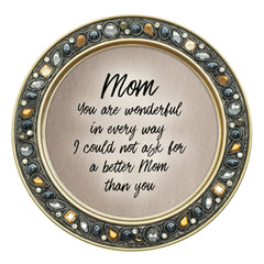 I Could Not Ask for a Better Mom Than You 4.5 Inch Amber Jeweled Coaster Set of 4