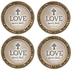 Love Never Fails Amber Gold 4.5 x 4.5  Resin Polymer Jeweled Coaster Set of 4