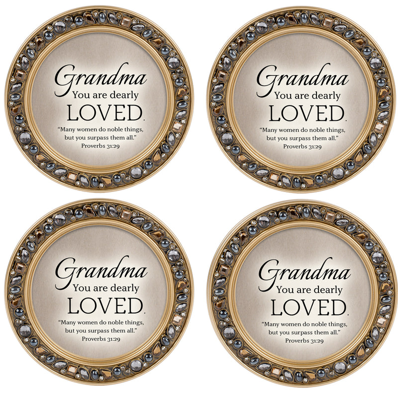 Grandpa Love Amber Gold 4.5 x 4.5 Resin Polymer Jeweled Coaster Set of 4