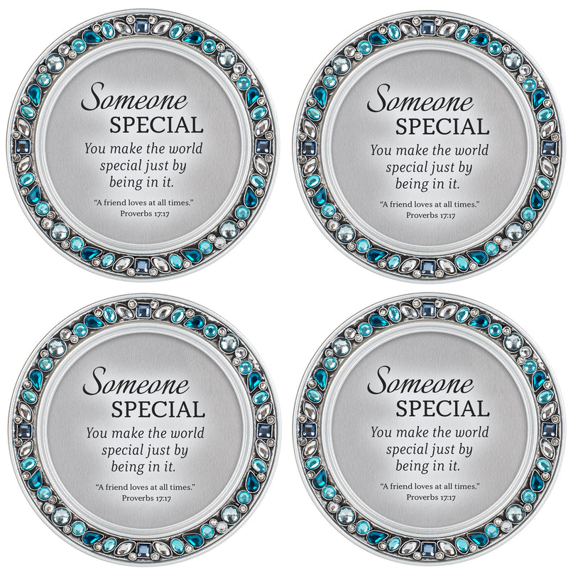 Someone Special  Aqua Blue 4.5 x 4.5 Resin Polymer Jeweled Coaster Set of 4