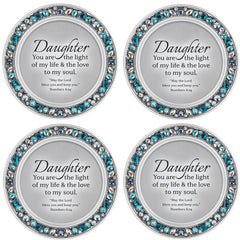 Daughter Light Aqua Blue 4.5 x 4.5 Resin Polymer Jeweled Coaster Set of 4