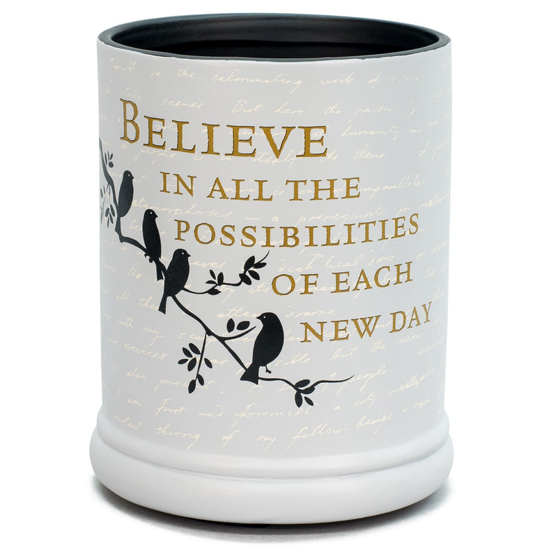 Birds on a Tree Grey Believe Ceramic Stoneware Electric Large Jar Candle Warmer