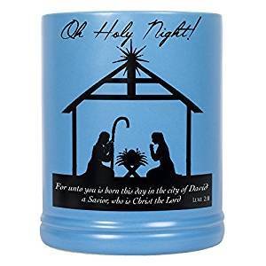 Christmas Nativity Scene Black Silhouette Stoneware Electric Large Jar Candle Warmer