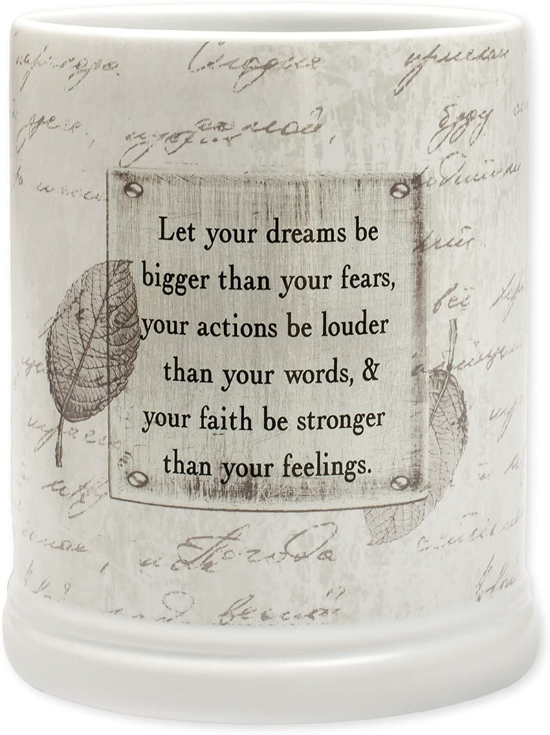 "Jar candle warmer with sentiment, ""Let your dreams be bigger..."""