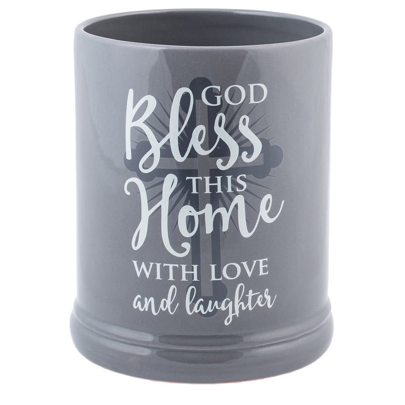 God Bless This Home With Love Grey Stoneware Electric Jar Candle Warmer