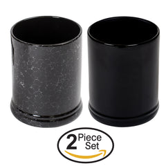 Glossy Black and Marbled Ceramic Stoneware Electric Large Jar Candle Warmer Set of 2
