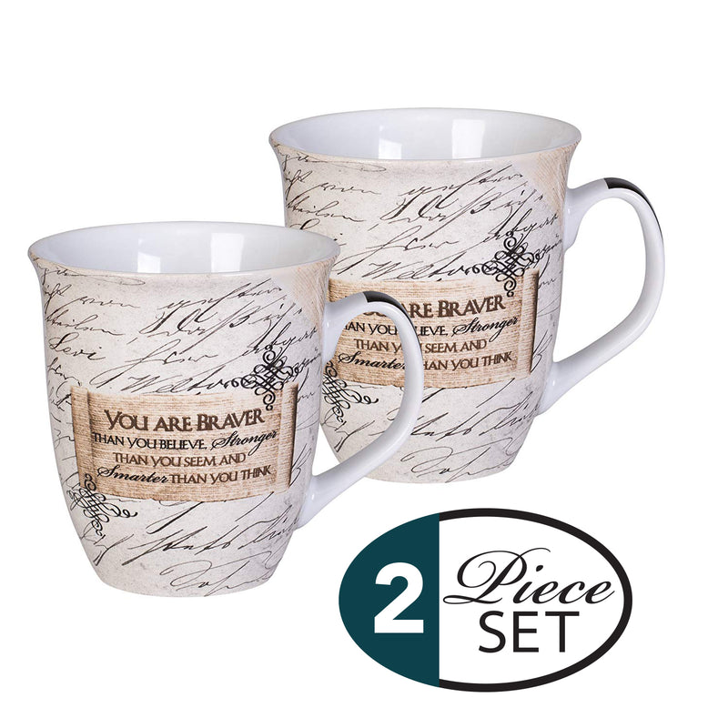 You Are Braver Stronger Smarter Than You Know 16 Ounce Ceramic Stoneware Coffee Mugs Set of 2