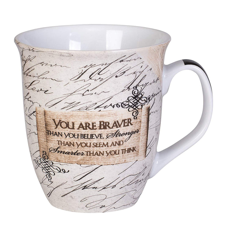 "Mug, message ""you are braver than you believe"""