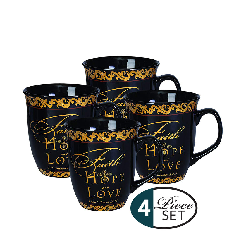 Faith Hope Love Black Gold 16 Ounce Ceramic Stoneware Coffee Mugs Set of 4