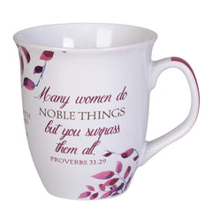 Pink and White bistro style mug, with Proverbs 31 verse