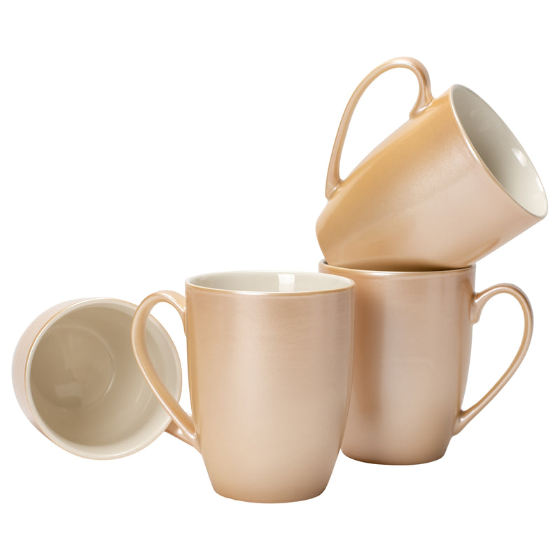 Pearlescent Sand Finish 10 ounce New Bone China Coffee Cup Mugs Set of 4