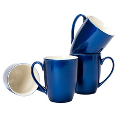 Navy Blue Glossy Finish 10 ounce New Bone China Coffee Cup Mugs Set of 4