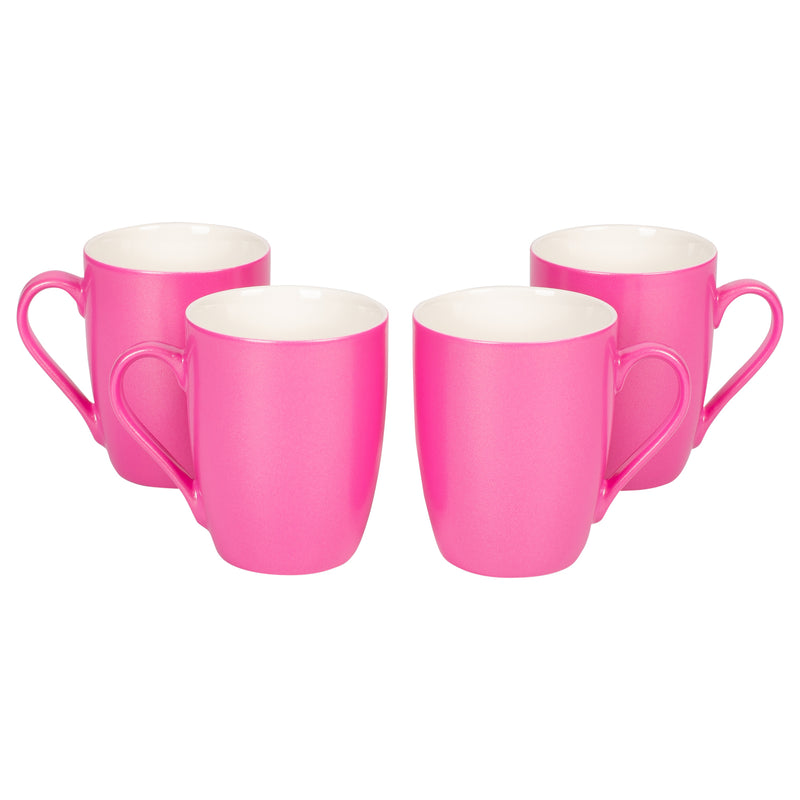 Princess Pink Glossy Finish 10 Oz. New Bone China Coffee Cup Mug Set of 4