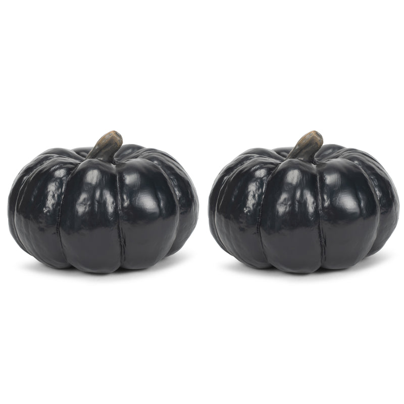 Midnight Black 6 inch Resin Harvest Decorative Pumpkins Pack of 2