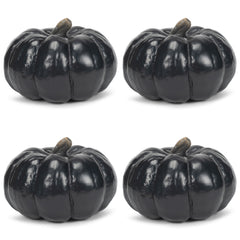 Midnight Black 6 inch Resin Harvest Decorative Pumpkins Pack of 4