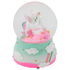 Unicorn Rainbows on Teal Musical Figurine 100MM Water Globe Plays Tune The Unicorn