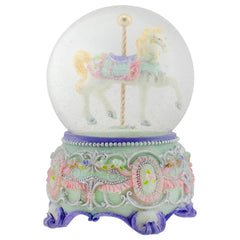 Purple Floral Horse and Carousel 100MM Musical Water Globe Plays Tune Carousel Waltz