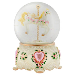 Rose Garland Horse and Carousel 100MM Musical Water Globe Plays Tune Carousel Waltz