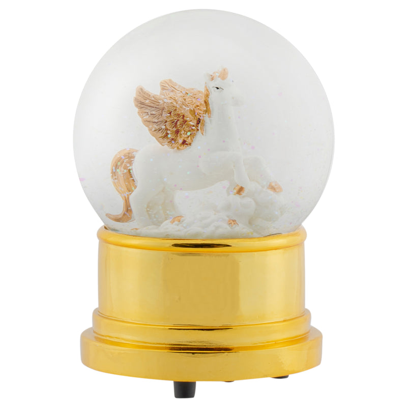 Flying Unicorn 100MM Musical Water Globe Plays Tune The Unicorn