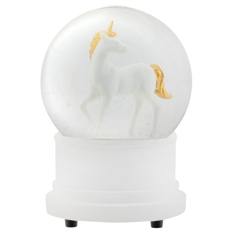 Pearl White Unicorn 100MM Musical Water Globe Plays Tune You Are My Sunshine