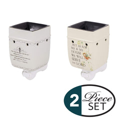 2 Pc Set for I Know The Plans, As for Me and My House Ceramic Plug-in Tart Oil Wax Warmers