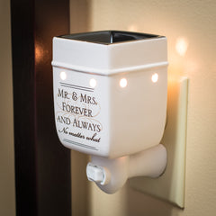 Mr & Mrs Forever and Always Ceramic Stoneware Electric Plug-in Outlet Wax and Oil Warmer