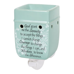Serenity Prayer Teal White Floral Design Stoneware Electric Plug-in Outlet Wax and Oil Warmer