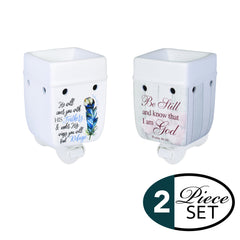 2 Pc Set Refuge Under His Wings, Be Still Scripture Ceramic Stoneware Plug-In Tart Oil Wax Warmers