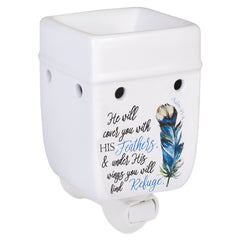 Refuge Under His Wings Feathers White Ceramic Stone Plug-in Warmer
