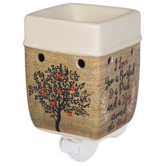 I Love You A Bushel A Peck Burlap Apples Cream Ceramic Stone Plug-in Warmer