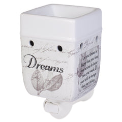 Dream Bigger Actions Louder Faith Stronger Grey Leaves White Ceramic Stone Plug-In Warmer