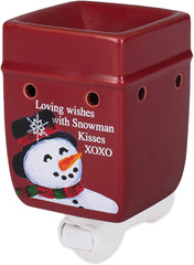 Classic Snowman Winter Wonders Red Christmas Ceramic Stone Holiday Plug-in Warmer