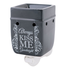 Always Kiss Me Goodnight Charcoal Grey Stoneware Electric Plug-in Wax Tart Oil Warmer