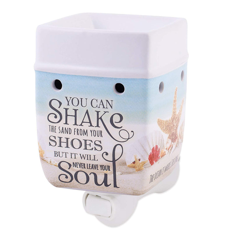 "Plug in wax warmer with message ""You can shake the sand..."""