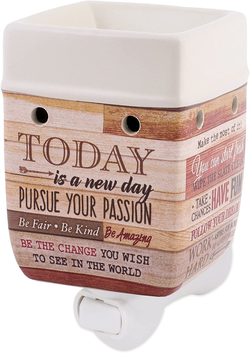 Today Aspire Change the World Wood Look Stoneware Electric Plug-In Wax Tart Oil Warmer