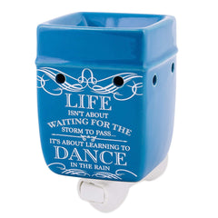 Life Learning Dance in the Rain Blue Stoneware Electric Plug-In Wax Tart Oil Warmer