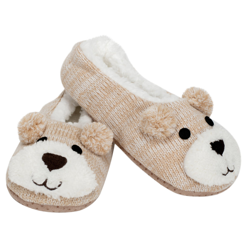 Brown Puppy Dog Womens Animal Cozy Indoor Plush Lined Non Slip Fuzzy Soft Slipper - Large
