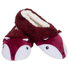 Burgundy Fox Womens Animal Cozy Indoor Plush Lined Non Slip Fuzzy Soft Slipper - Large