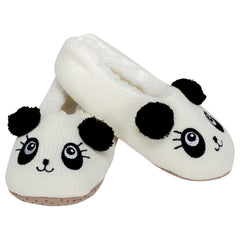 Panda Bear Womens Animal Cozy Indoor Plush Lined Non Slip Fuzzy Soft Slipper - Large