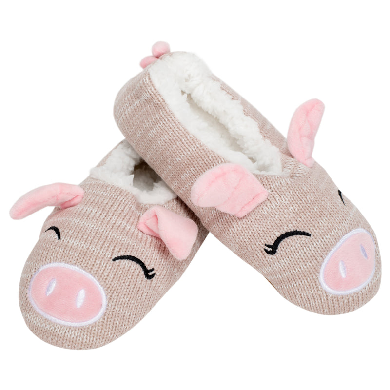 Pink Pig Womens Animal Cozy Indoor Plush Lined Non Slip Fuzzy Soft Slipper - Medium