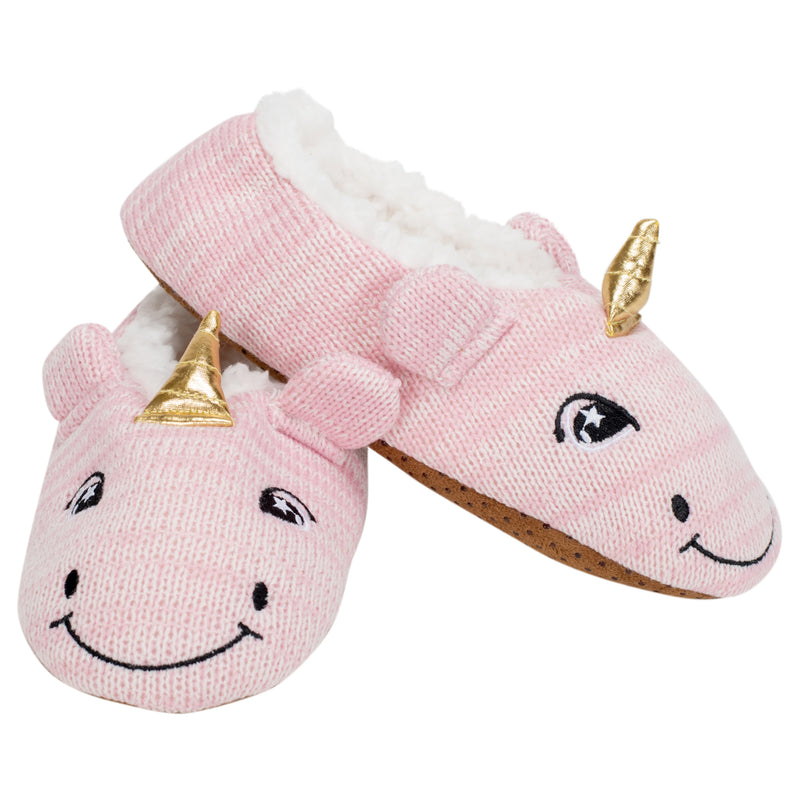 Pink Unicorn Womens Animal Cozy Indoor Plush Lined Non Slip Fuzzy Soft Slipper - Small