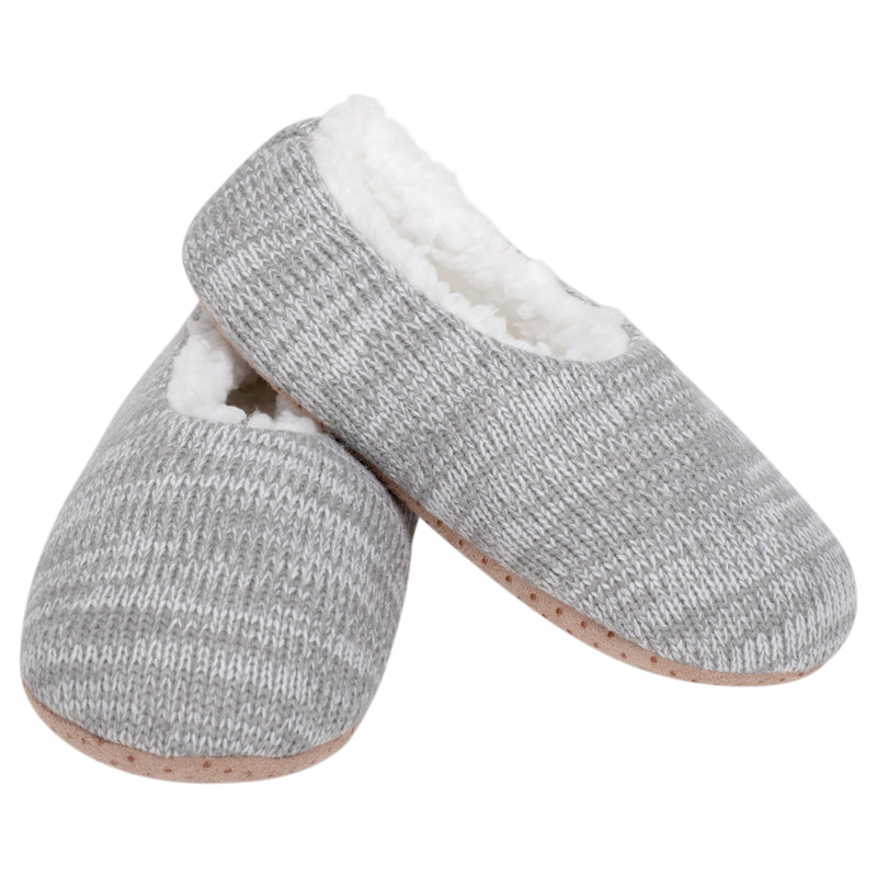 Simple Knit Womens Plush Lined Cozy Non Slip Indoor Soft Slipper - Grey, Small
