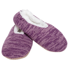 Simple Knit Womens Plush Lined Cozy Non Slip Indoor Soft Slipper - Purple, Medium